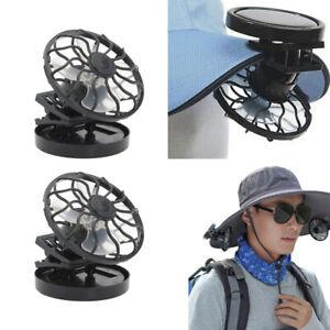 2x Clip-on Hat Mini Solar Fan for Camping Fishing Air Cooling Fan Handsfree