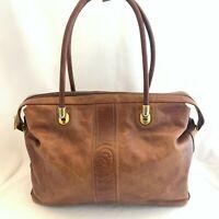 Marino Orlandi Vintage Brown Glazed Cowhide Leather Shoulder Bag Purse Handbag