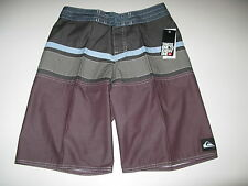 Quiksilver Boys 29 Surf Board Shorts Panel Stripe Youth Gray Blue Plum NWT
