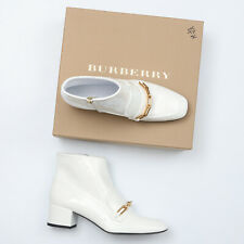 Burberry Chettle White Patent Leather Booties - Size 40.5 (10.5 US)