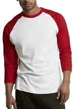 Men's 3/4 Sleeve Baseball T-Shirt Raglan Jersey Two Tone Active Tee