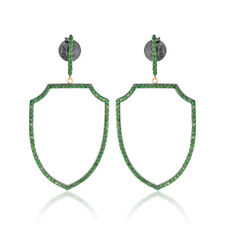 Natural Pave Chrome Diopside 925 Silver Women's Dangle Earrings Jewelry EAMJ-862