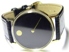mens Movado manual wind 14K Solid Gold classic dot black face swiss dress watch