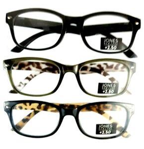 Men's +2.50 Jones New York Reading Glasses 3 Pack Multi-Color Designer Readers