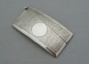 ANTIQUE SOLID SILVER SMALL CURVED CARD CASE TEXTURED DECORATION BIRM 1905