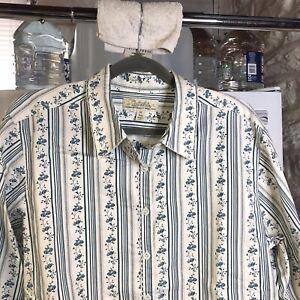 Cabelas Womans Blouse Long Button Up Top XL Blue White Floral Cotton