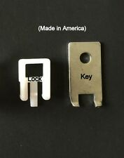 (100 PACK) White Peg Locks. Only Fits Our Plastic Pegboard Hooks (With 6 Keys)