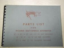 Wickman Automatic Parts List Manual~Bar/Chucking Machines~6/6D/6L/6S~Lathe