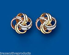 Knot Earrings Knot Studs Three Colour Gold Knot Earrings         9mm