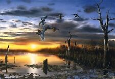 "Jim Hansel Days End Duck Print  10"" x 6.5"""