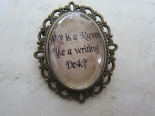 """Alice in Wonderland """"Why is a Raven like a Writing Desk?""""  Brooch New Gift Bag"""