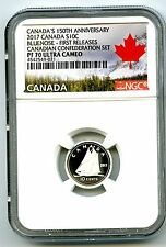 2017 CANADA 150TH ANNIV 10 CENT NGC PF70 UCAM SILVER PROOF BLUENOSE DIME FR
