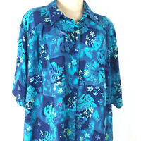 Maggie Barnes Womens Plus Sz 2x Top Button Front Floral Blue Short Sleeve
