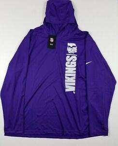 NWT Nike NFL Minnesota Vikings Dri-Fit Longsleeve Hooded Shirt 3XL NKDF-51L