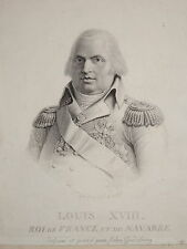 Gravure Portrait LOUIS XVIII ROI RESTAURATION BOURBON GERARD Jean GODEFROY 1815