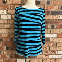 89th & Madison Women Petite Large PL Striped Blue Top Layered Details 3/4 Sleeve