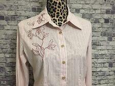J.Jill Womens Embroidered Pink,White Stripe Long Sleeve Sz. XS