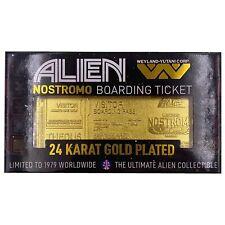 Alien NOSTROMO BOARDING PASS 24K Gold Plated Ticket x/1979 RARE by Fanattik