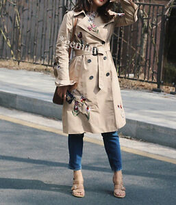 ZARA Brodé Belted Trench Coat Camel Trench-Coat Broderie TAILLE XS S