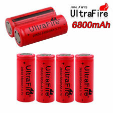 6pcs 6800mAh Rechargeable Li-ion 26650 Battery Flat Top 3.7V Bat Cell For Torch