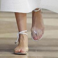 Womens Roman Lace Up Open Toe Clear Sandal Flat Ankle Strap Shoes Transparent A5