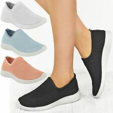 Womens Ladies Stretch Comfort Trainers Gym Sport Sneakers Slip On Pumps Size New