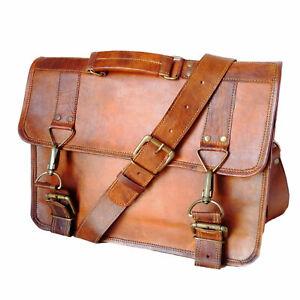 New Pure Goat Leather Men's Genuine Brown Sling Shoulder Satchel Messenger Bag