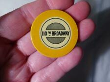 1925 RARE YELLOW 110 W BROADWAY CHICAGO ILL. C&S CREST & SEAL POKER CHIP VG