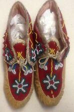 Tlingit Beaded Hide Moccasins, Native American Indian, Circa: 1900 Rare Pair