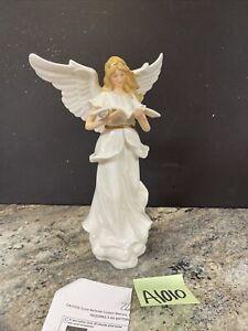 "12.5"" Porcelain Angel Book Figurine Roman Inc /Valerie Parr Hill -Doesn't Light"