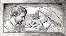 Quadro Sacra Famiglia su pannello con cornice Capezzale Holy Kiss Grey ® 113x63