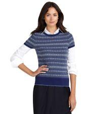 NEW Brooks Brothers L Fair Isle Short Sleeve Blue Wool Sweater $148
