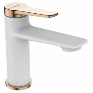 White/Rose Gold Finishing Bathroom Basin Sink Tap Single Lever Faucet Mixer