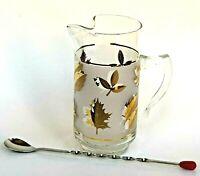 Vtg MCM Libbey Cocktail Pitcher w Spoon Mixer Golden Foliage Leaf Barware Frost