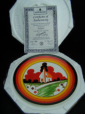 """Wedgwood Clarice Cliff """"Farmhouse"""" 8in Plate + Certificate + Case - Perfect"""