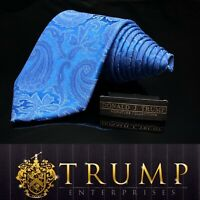 DONALD J. TRUMP~ SIGNATURE COLLECTION Blue Paisley Luxury Tie 60""