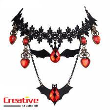 US!Lace Choker Necklace Bat Crystal Pendants Retro Punk Halloween CosplayJewelry