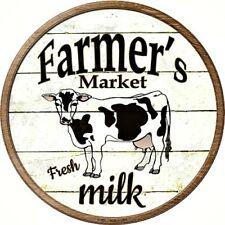 "Farmers Market Milk 12"" Round Metal Kitchen Sign Novelty Retro Home Wall Decor"