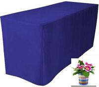"4' ft. Fitted Blue Polyester Table Cover Wedding Banquet Tablecloth 24"" W"