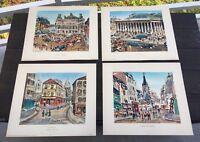 4 Mid Century Lucien Genin French Lithograph La Bourse Montmartre Paris Painting