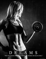Workout Motivational Poster Art Print Weights Women's Pants Shorts Shoes MVP515