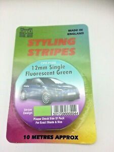 Fluorescent Green 12mm x 10mtr Self Adhesive Car Pin Stripe Coach Tape Bumper
