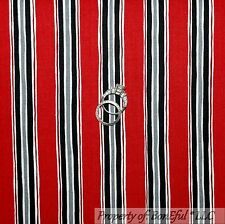 BonEful Fabric FQ Cotton Quilt Black B&W White Gray Red Ticking Stripe Valentine