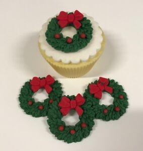 6  Edible Sugarpaste GREEN CHRISTMAS WREATHS  Cupcake Toppers-  CHRISTMAS