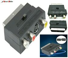 RGB Scart Socket to Composite 3 RCA SVHS S-Video AV TV Audio Cable Adapter DVD