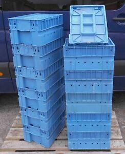 12x Box mit Deckel Stapelkiste Behälter KLT 4321 400x300x210 mm  Lager Werkstatt