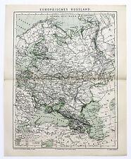 1884 Russia in Europe Map Railroads Moscow St Petersburg Original German Karte