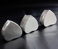 3 piccole Shiny Silver-Color scatole a forma di cuore 6 x 6 x 3 cm