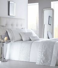 ELEGANT SHIMMER WHITE DIAMANTE SEQUIN SPARKLING KING SIZE DUVET COVER BED SET
