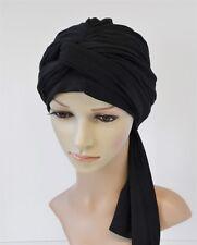 Black turban, volume turban snood, chemo head wear, black turban with long ties